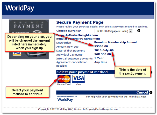 Worldpay payment screenshot